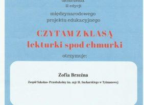 """Międzynarodowy Innowacyjny Projekt Edukacyjny """"CZYTAM Z KLASĄ – lekturki spod chmurki""""."""